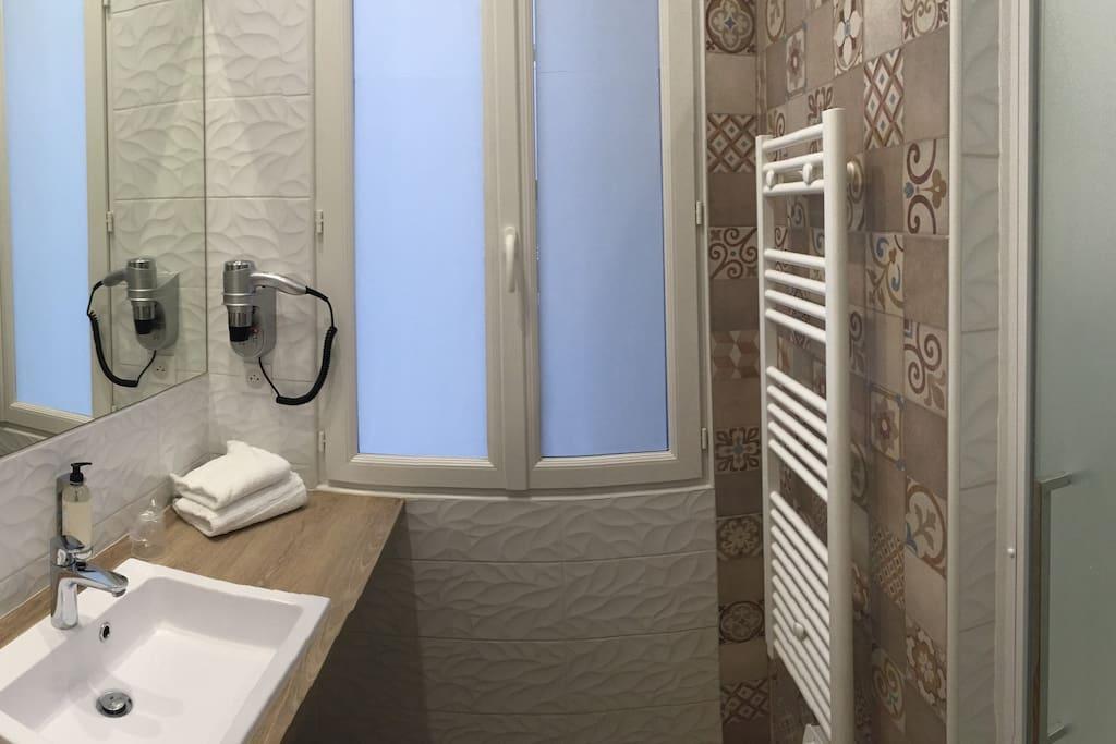 """Salle de bain, entièrement équipée, sèche cheveux, serviettes, verres à dents jetables, savon mains et savon corps dans la douche, système """"rain shower"""", sèche serviettes. Tout confort."""