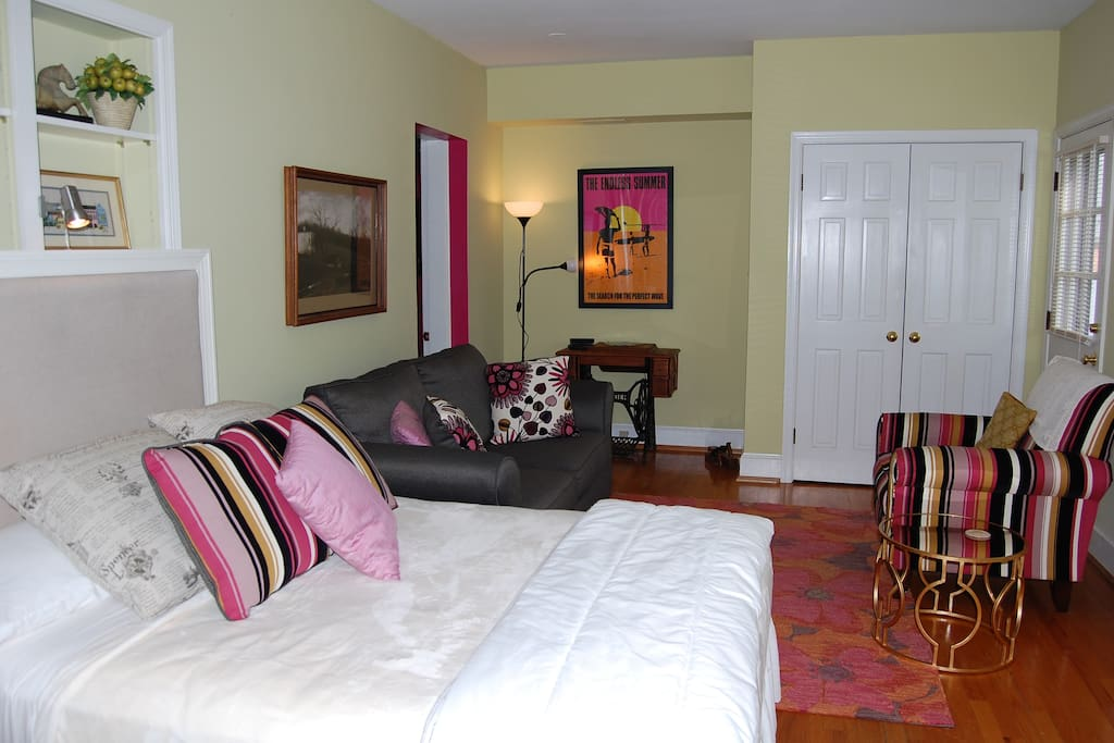 Room includes Pottery Barn full size bed and sitting area