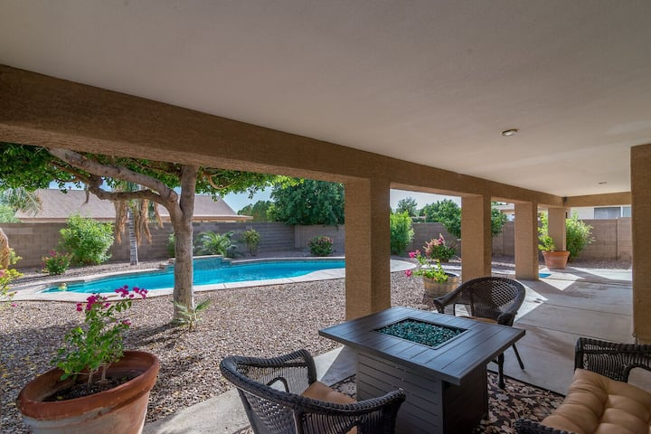 Clean heated pool home at Cardinals Stadium.