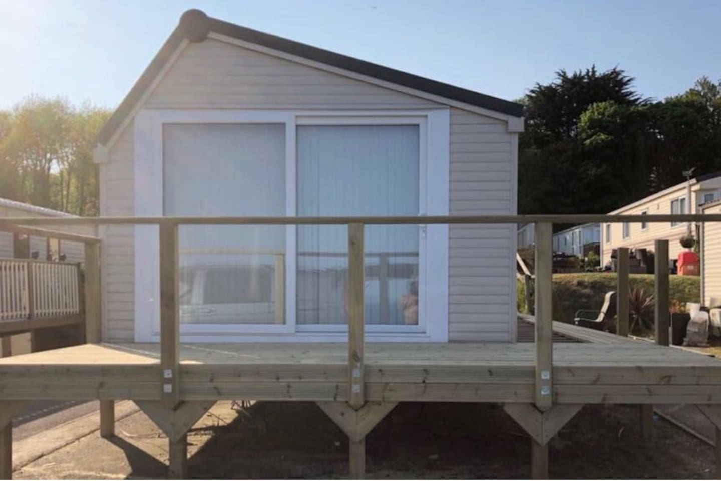 Front of caravan and decking area