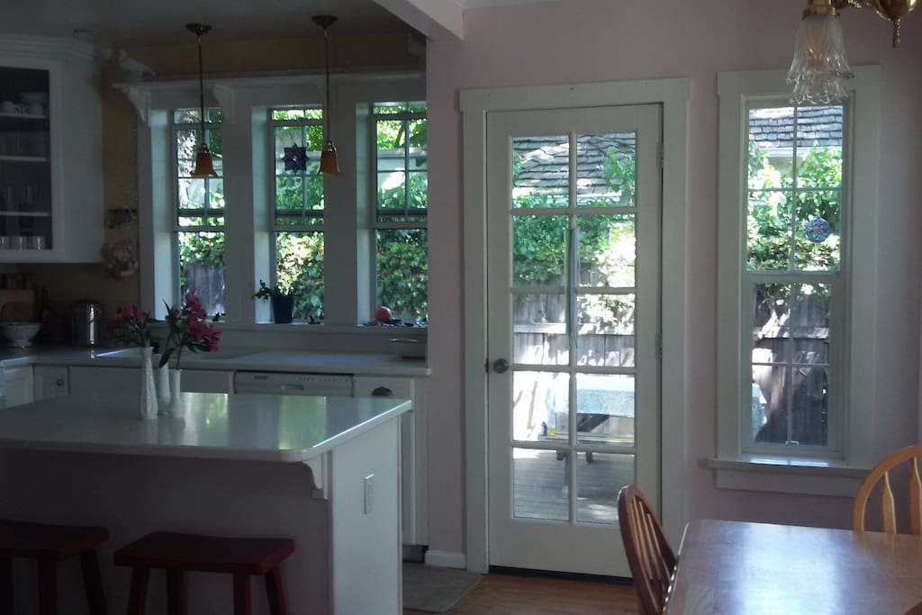 The Kitchen and Dining Area looking out to the deck