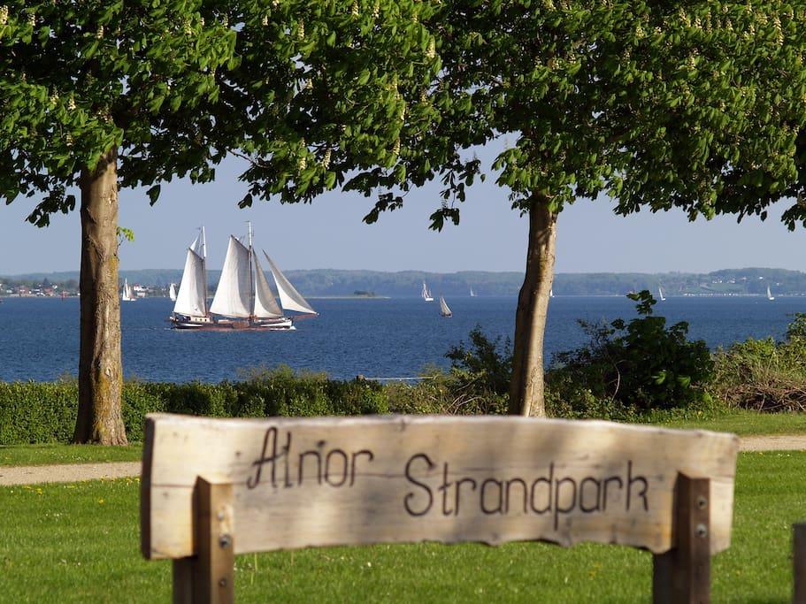 Huset ligger lige ud til Alnor Strandpark.