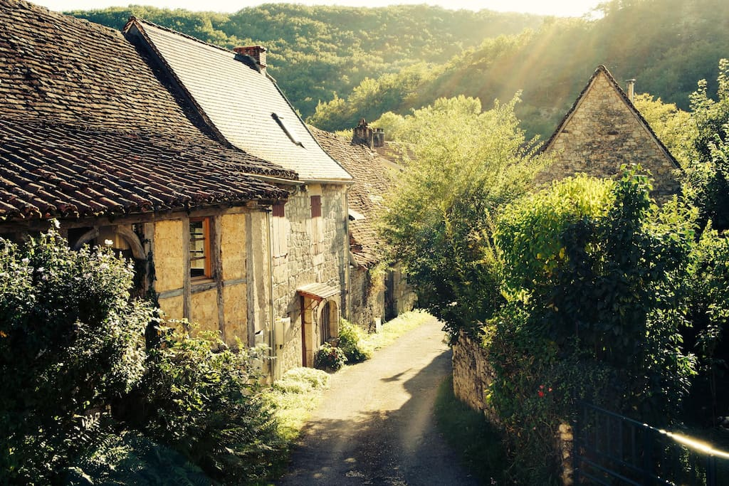 Charming village in the evening sun