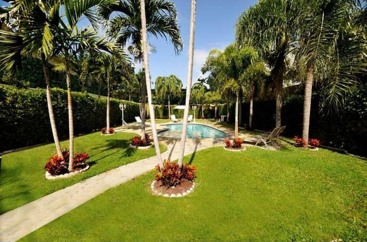 Very large and private backyard with heated pool