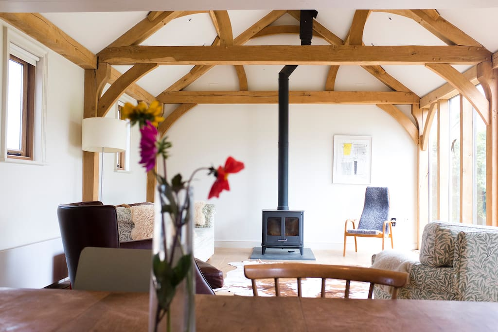 Oak beam extension with floor to ceiling windows