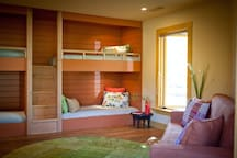 The built-in bunks and queen pull-out sofa.