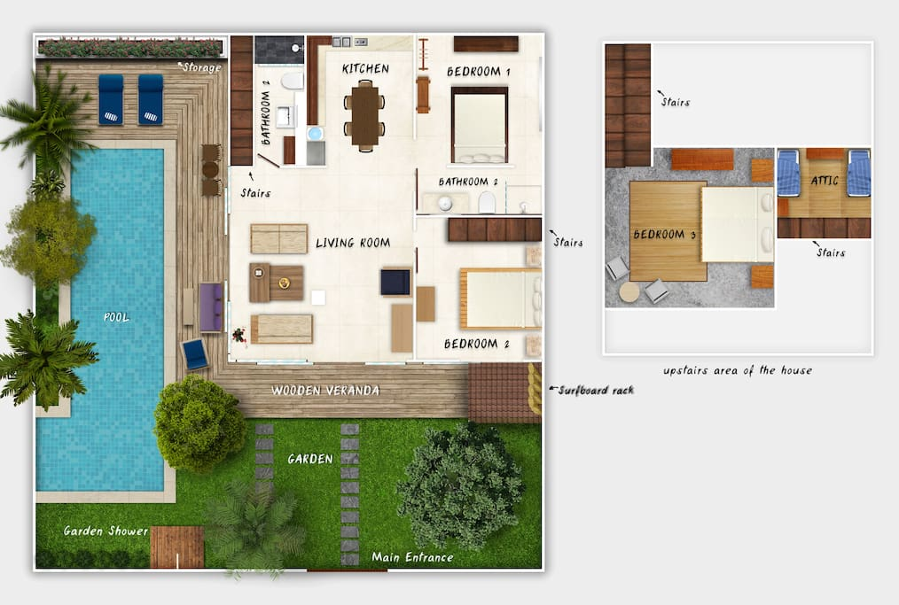 Floor plan of the house & upstairs areas