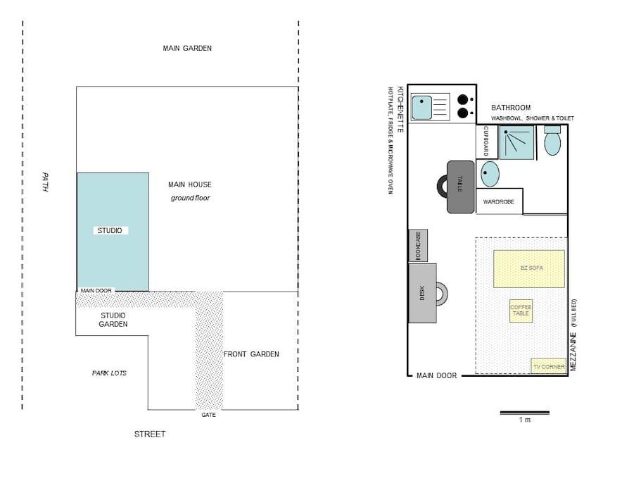 Le plan du studio et sa localisation au rdc de la maison