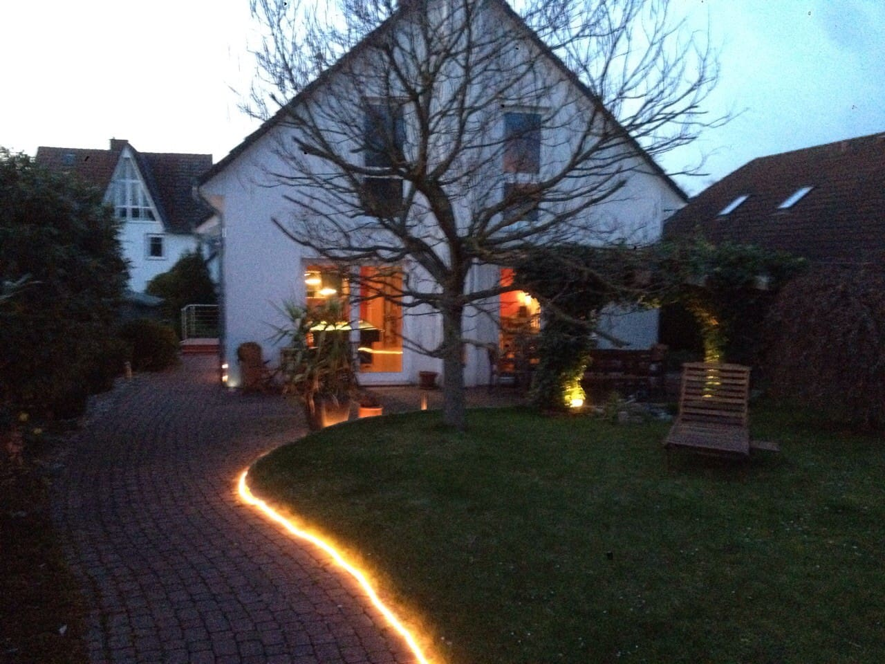 Lighted path to house