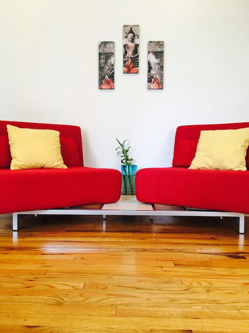 2 convertible Sofa Beds, Very Comfortable Almost New.