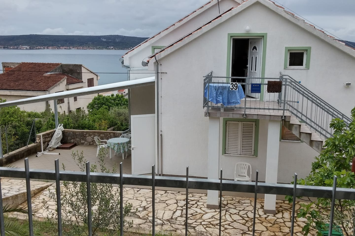 On south is bigger balkon with very nice wiev on sea and island and on north is smal balkon.