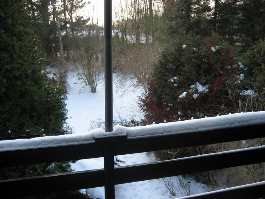 Vinter udsigt fra balkon