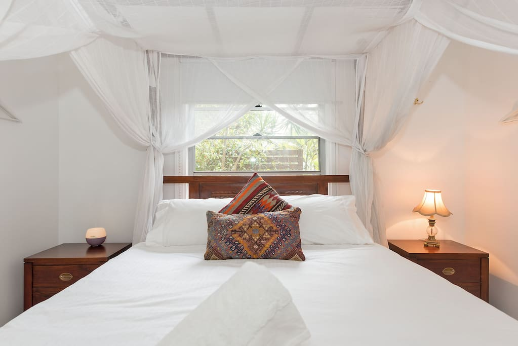 Studio features a four poster bed.