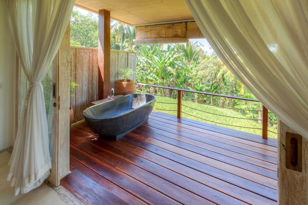 Bath tub on the veranda