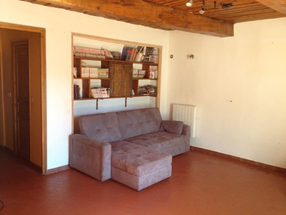 Grand salon avec un canapé d'angle pouvant servir de couchage