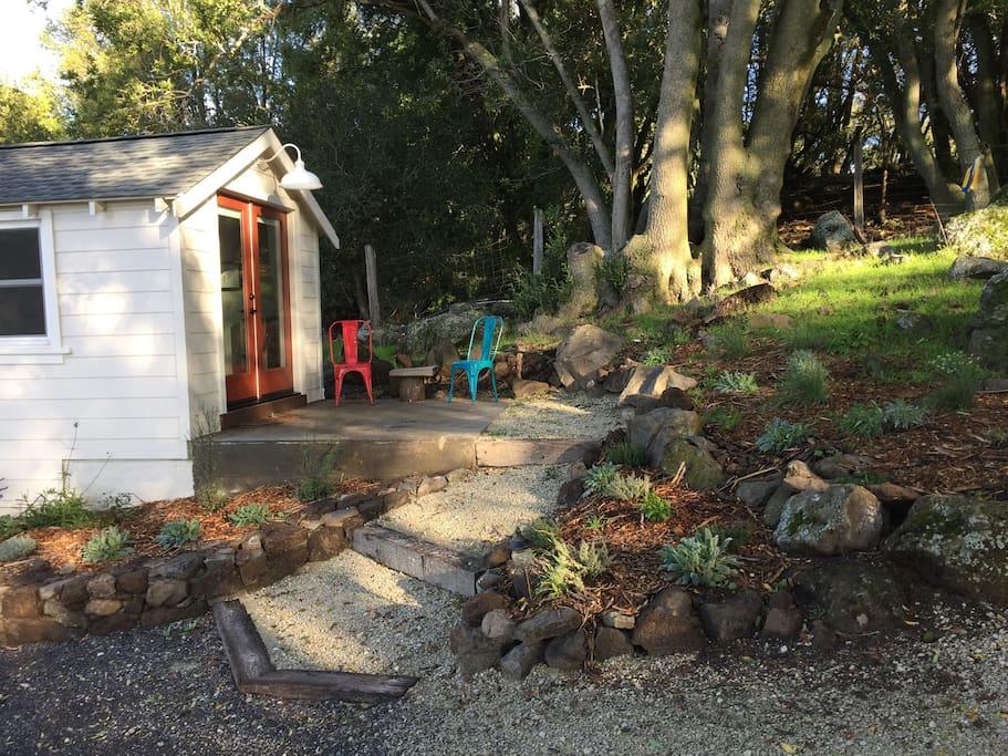 Cottage deck and front door