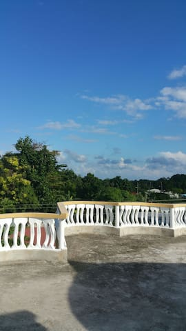 The view from the roof terrace where guests can relax and enjoy