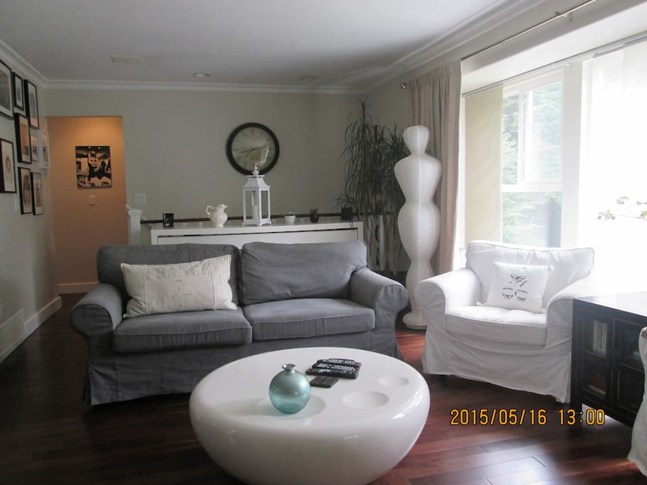 Living room with comfy sofa bed
