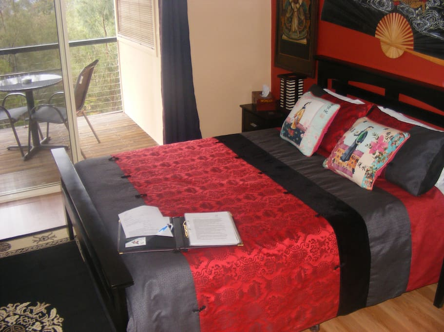 Asian themed spa suite with queen size bed accommodates two persons only
