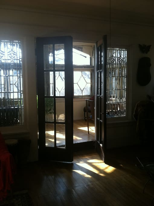 Front porch thru leaded glass