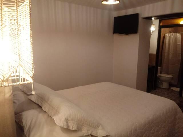 Habitación con una cama doble y una cama simple adicional, cuenta con baño privado.