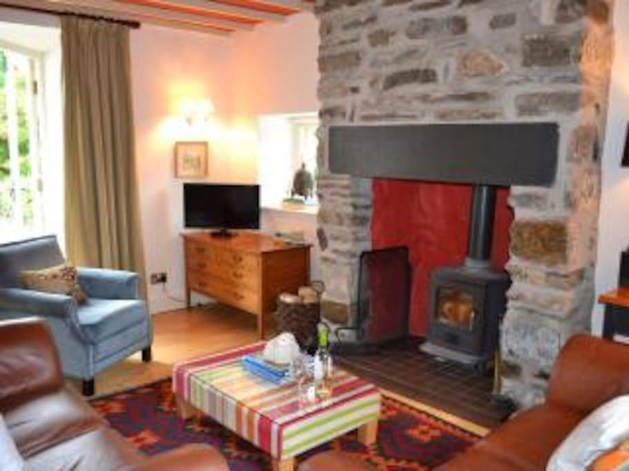 Cosy lounge with wood-burning stove
