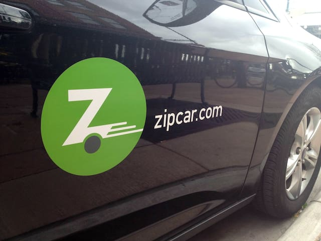 The next zip car station is just a 4 min walk away
