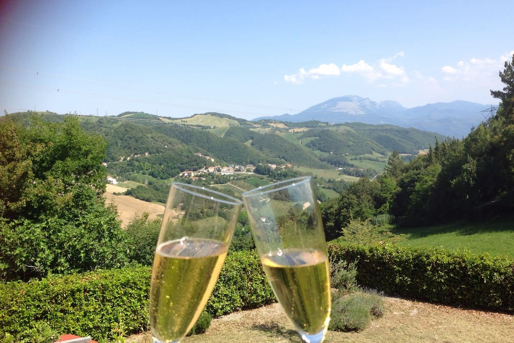 Spectacular views from the balcony of the Gran Sasso and Sibillini mountain ranges.