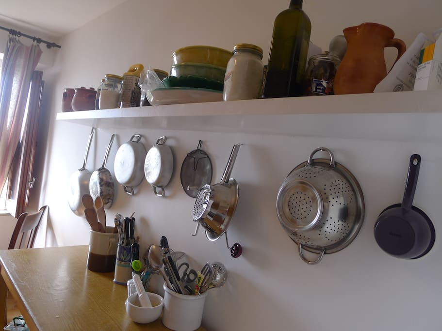 A well equipped cook's kitchen and a view to the sea