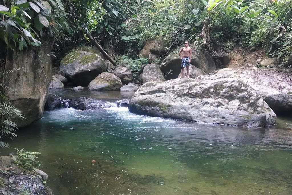 Our own private swimming hole, it is a 20 minute hike through the forest