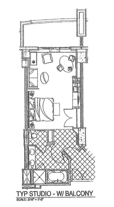 Floor plan of this beautiful suite. 1 King bed, 1 Queen Sofa bed and many other features.