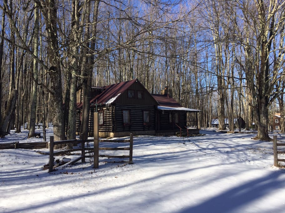 Front of the cabin in Winter