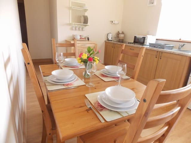 Fully equipped kitchen with electric hob,microwave which is also an oven ,seating for 4 and high chair