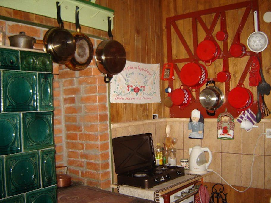 Kitchen + wooden stove