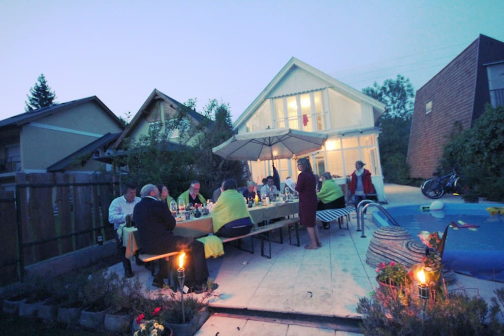 Sure: You can trow a garden party by the pool!