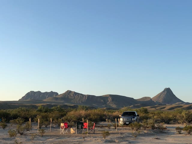"This is the Corazones Peak mountain range that sits just south of ""Big Bend Glamping"""