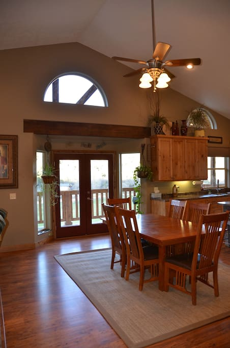 Dining space and large kitchen, outside bbq easily accessible.