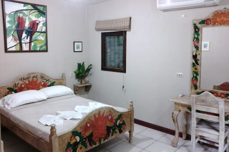 The Lapa Hut is a larger room at La Chosa Manglar which opens directly to the front garden. It offers a/c, one double and 2 singles and an extra large bathroom. It also has a privacy wall between the double and the singles.