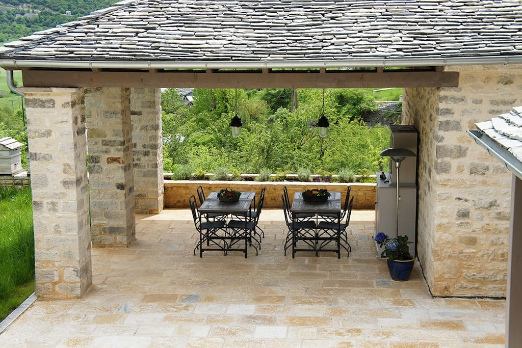 Backyard terrace, veranda view