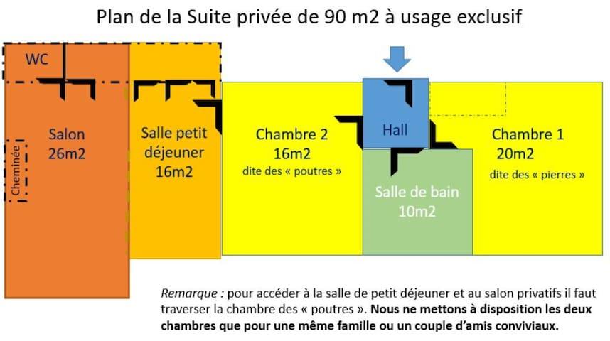 Plan de la suite privée de 90m2