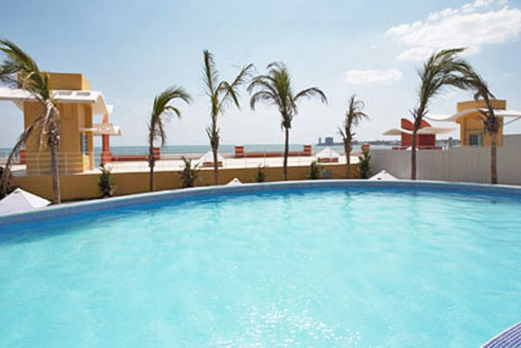 Our great pool overlooking the ocean