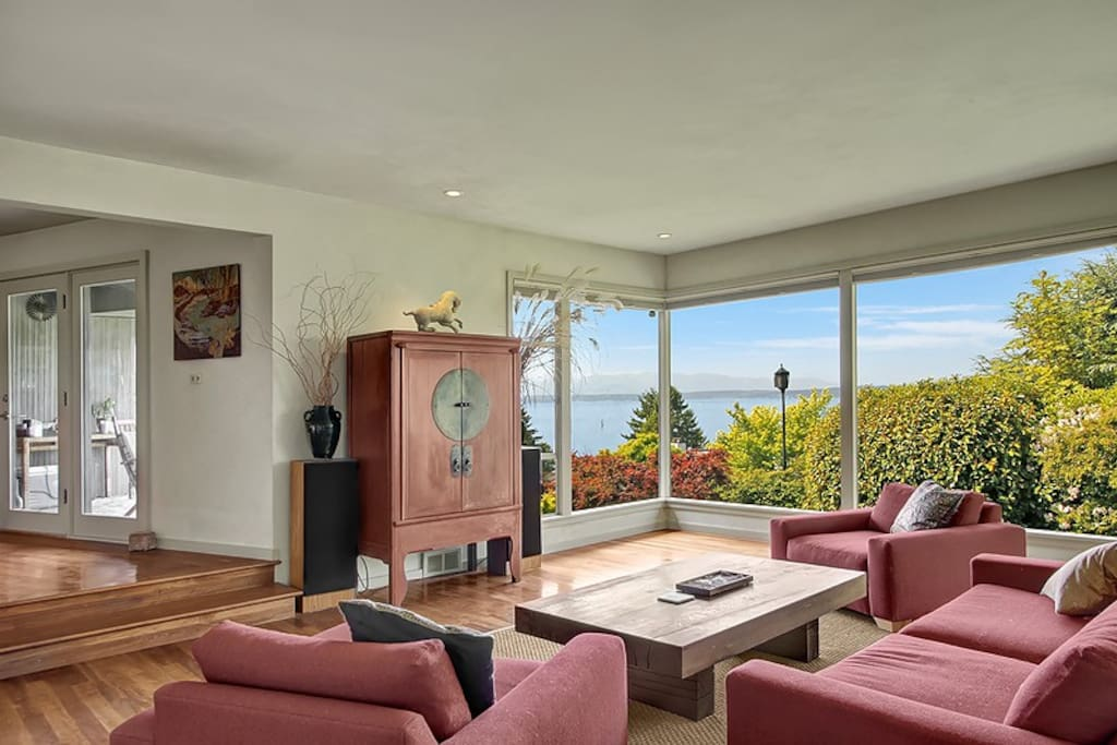 Sweeping views from a spacious, modern living room