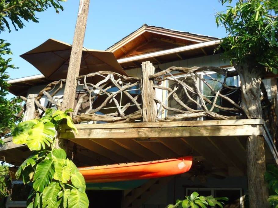 view of the Treetop getaway from the ground