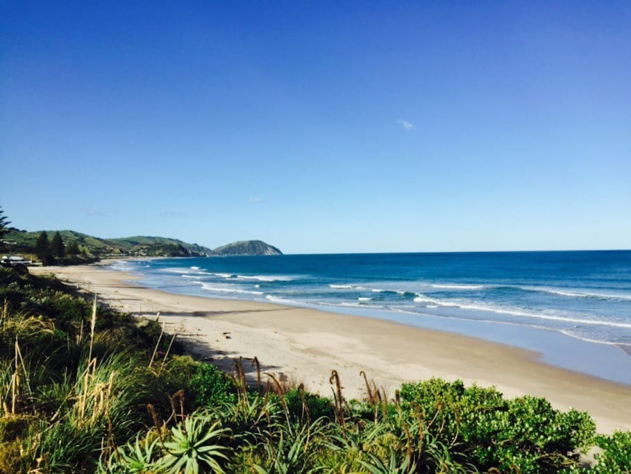 View of Wainui beach from front lawn