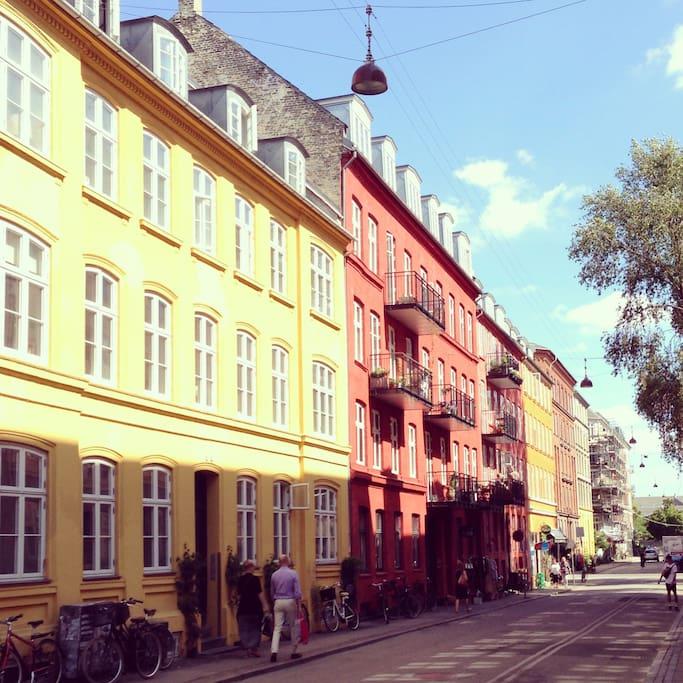 The area at Nørrebro. By the lake, at Sankt Hans Torv and Nørrebrogade. 10 min. of walk by Nørreport Station (city center)