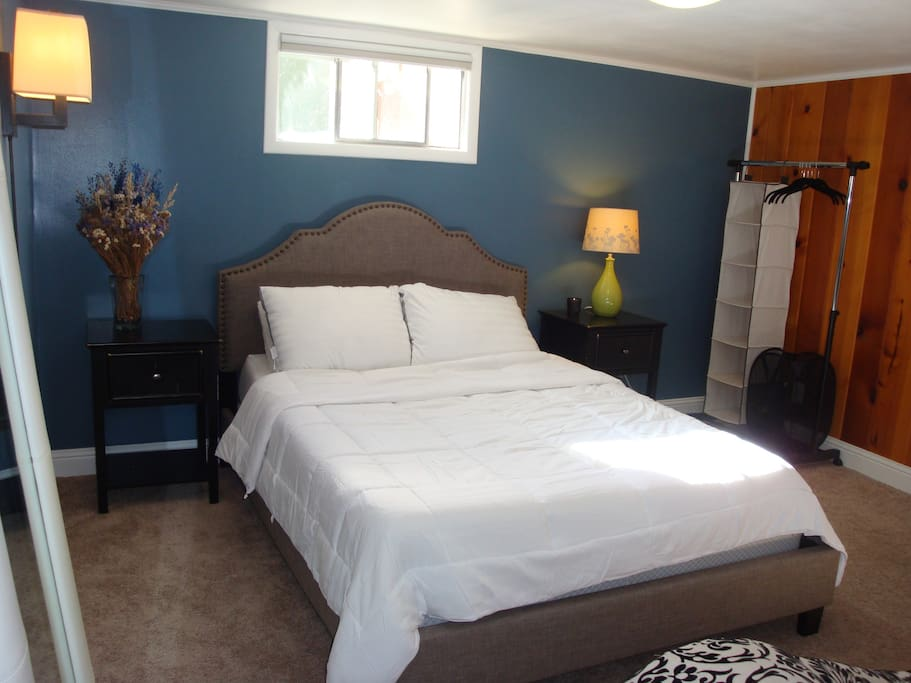 Memory foam bed and down pillows and comforter
