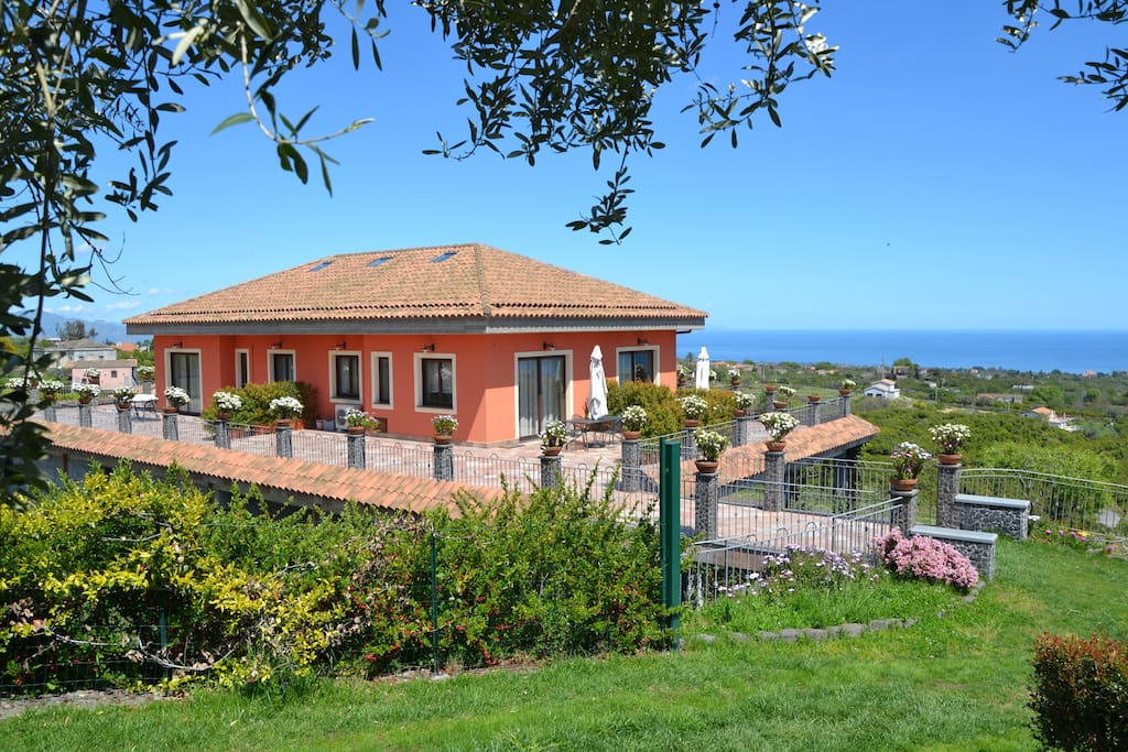 The villa offers a breathtaking view of Mt Etna on on side, and view of the coastline between Catania and Taormina on the other