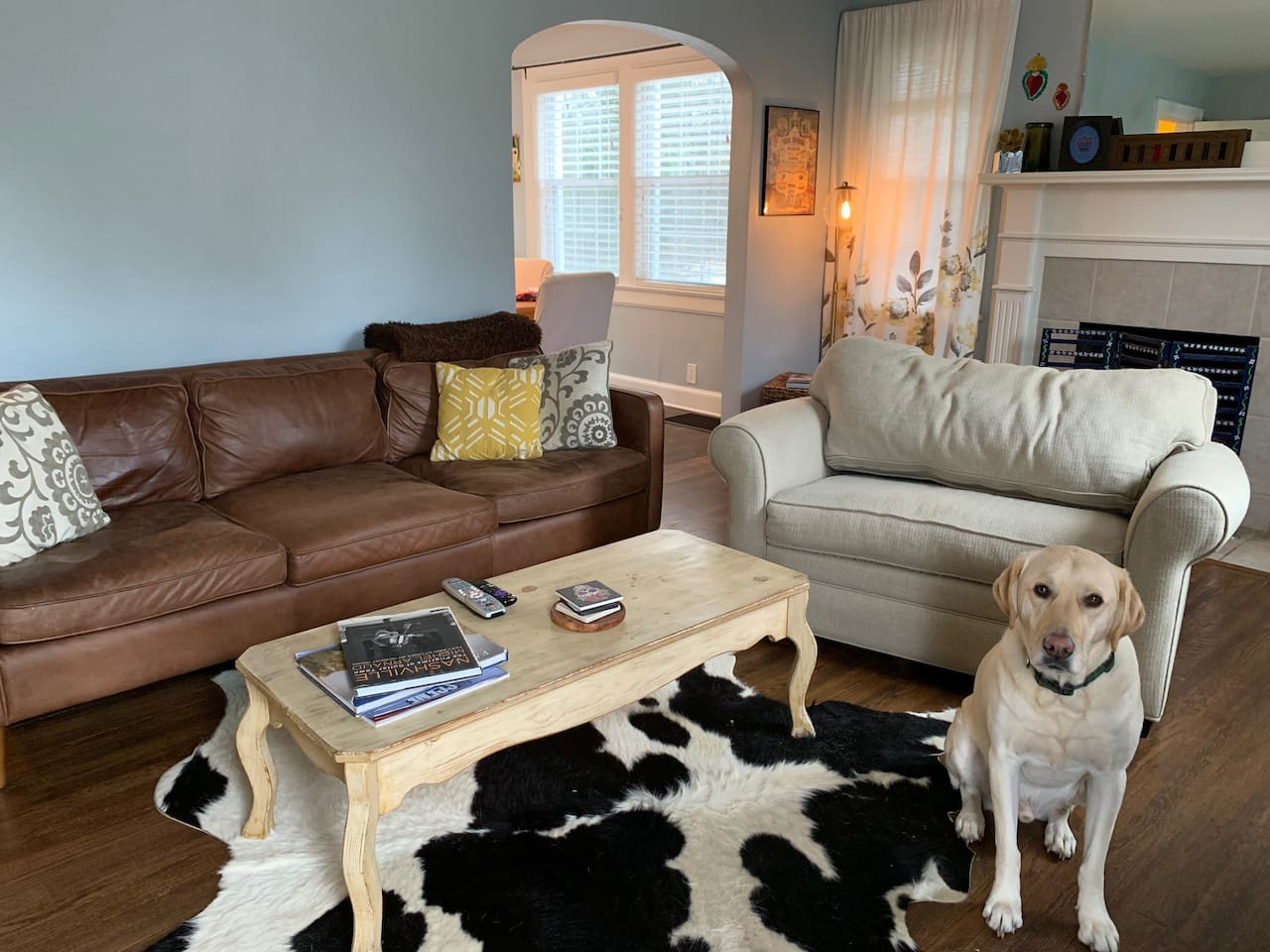 Living room...my dog thinks every time I take pictures that he should pose!