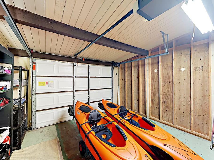 The rental includes 2 single and 1 double tandem kayaks with life vests, which you can launch from a ramp down the street