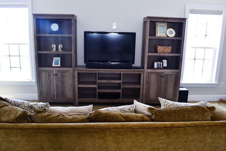 Entertainment center with Netflix available.